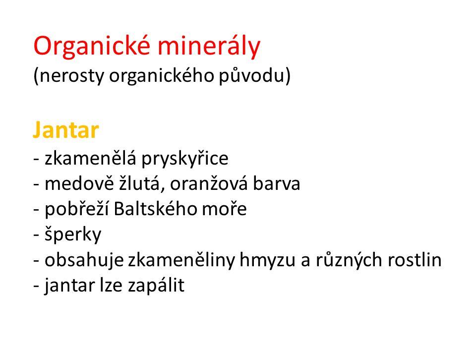 Organické minerály (nerosty organického původu) Jantar - zkamenělá pryskyřice - medově žlutá, oranžová barva - pobřeží Baltského moře - šperky - obsah