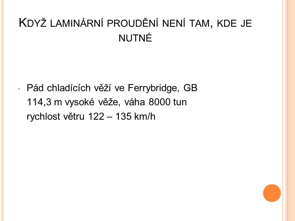 K DYŽ LAMINÁRNÍ PROUDĚNÍ NENÍ TAM, KDE JE NUTNÉ Pád chladících věží ve Ferrybridge, GB 114,3 m vysoké věže, váha 8000 tun rychlost větru 122 – 135 km/h
