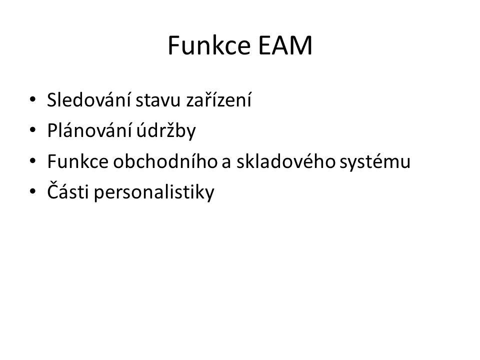 Funkce EAM Sledování stavu zařízení Plánování údržby Funkce obchodního a skladového systému Části personalistiky