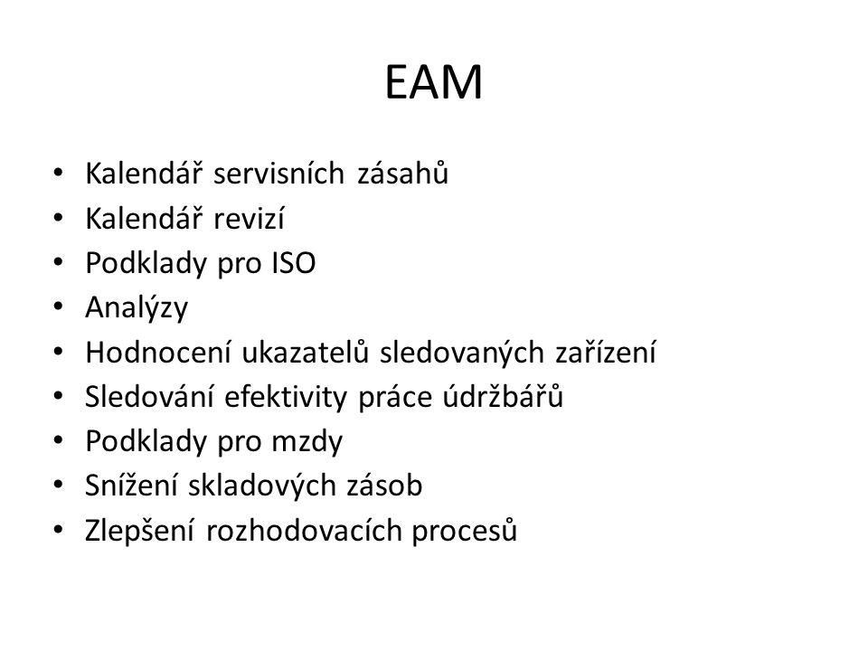 EAM Kalendář servisních zásahů Kalendář revizí Podklady pro ISO Analýzy Hodnocení ukazatelů sledovaných zařízení Sledování efektivity práce údržbářů P