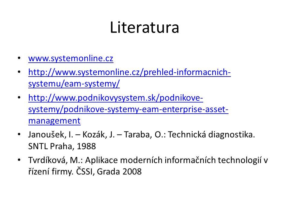 Literatura www.systemonline.cz http://www.systemonline.cz/prehled-informacnich- systemu/eam-systemy/ http://www.systemonline.cz/prehled-informacnich- systemu/eam-systemy/ http://www.podnikovysystem.sk/podnikove- systemy/podnikove-systemy-eam-enterprise-asset- management http://www.podnikovysystem.sk/podnikove- systemy/podnikove-systemy-eam-enterprise-asset- management Janoušek, I.