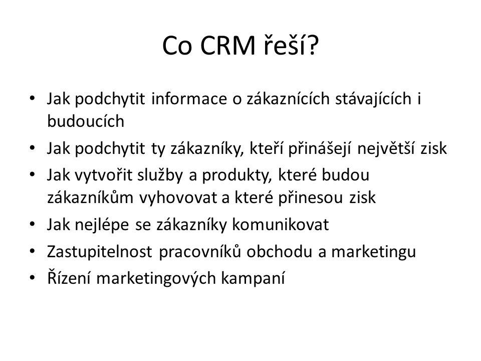 Co CRM řeší? Jak podchytit informace o zákaznících stávajících i budoucích Jak podchytit ty zákazníky, kteří přinášejí největší zisk Jak vytvořit služ
