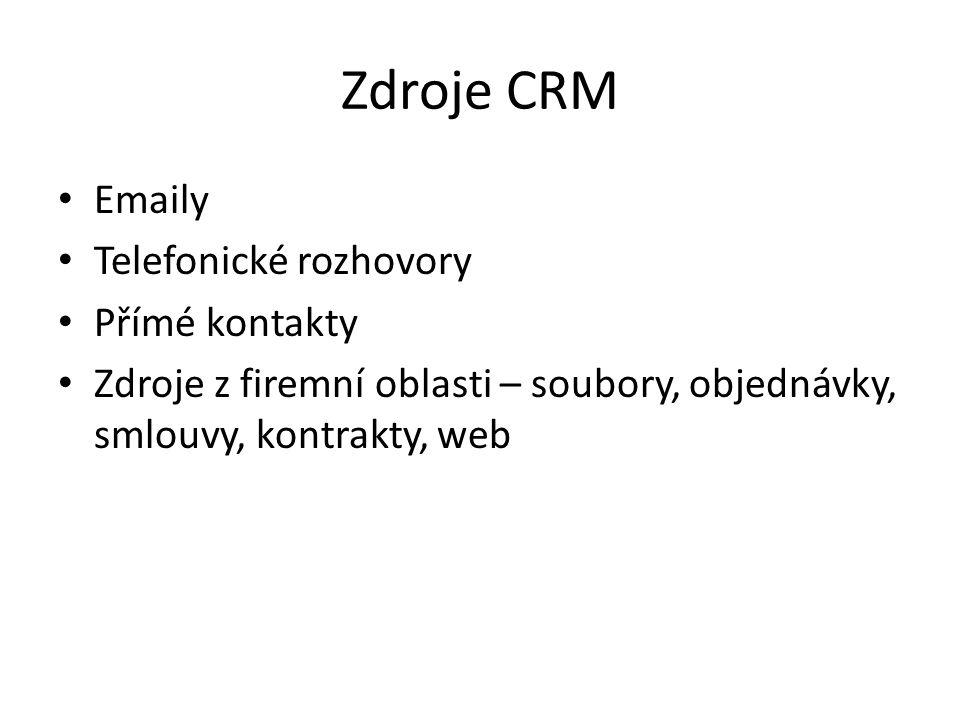 Zdroje CRM Emaily Telefonické rozhovory Přímé kontakty Zdroje z firemní oblasti – soubory, objednávky, smlouvy, kontrakty, web
