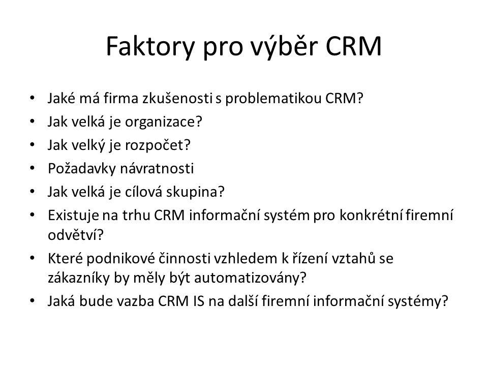 Faktory pro výběr CRM Jaké má firma zkušenosti s problematikou CRM? Jak velká je organizace? Jak velký je rozpočet? Požadavky návratnosti Jak velká je