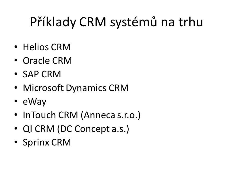 Příklady CRM systémů na trhu Helios CRM Oracle CRM SAP CRM Microsoft Dynamics CRM eWay InTouch CRM (Anneca s.r.o.) QI CRM (DC Concept a.s.) Sprinx CRM