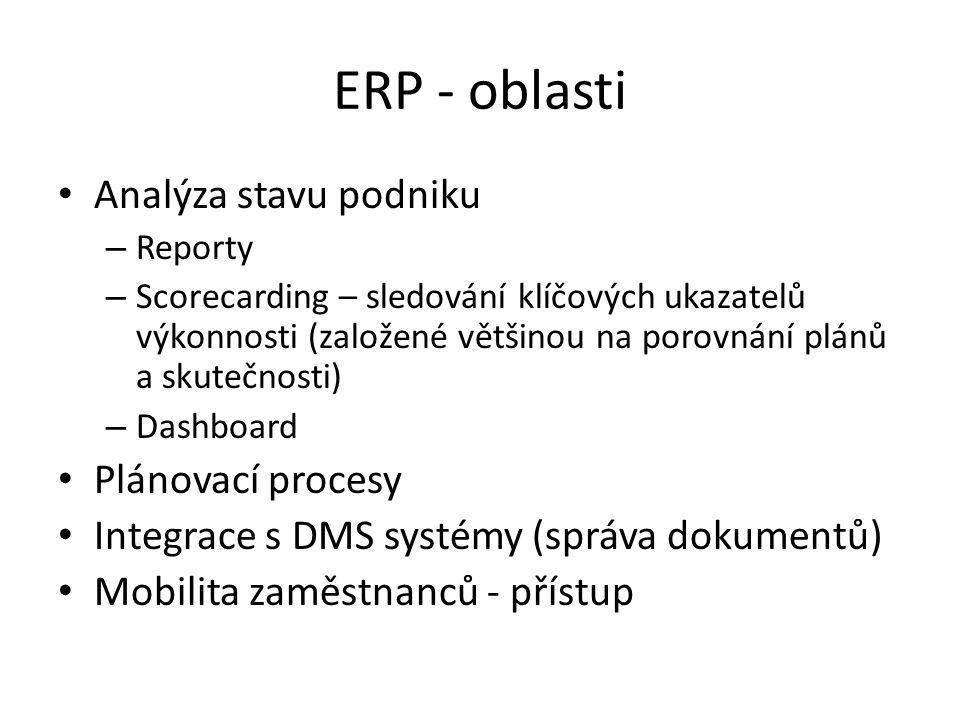 ERP - oblasti Analýza stavu podniku – Reporty – Scorecarding – sledování klíčových ukazatelů výkonnosti (založené většinou na porovnání plánů a skutečnosti) – Dashboard Plánovací procesy Integrace s DMS systémy (správa dokumentů) Mobilita zaměstnanců - přístup