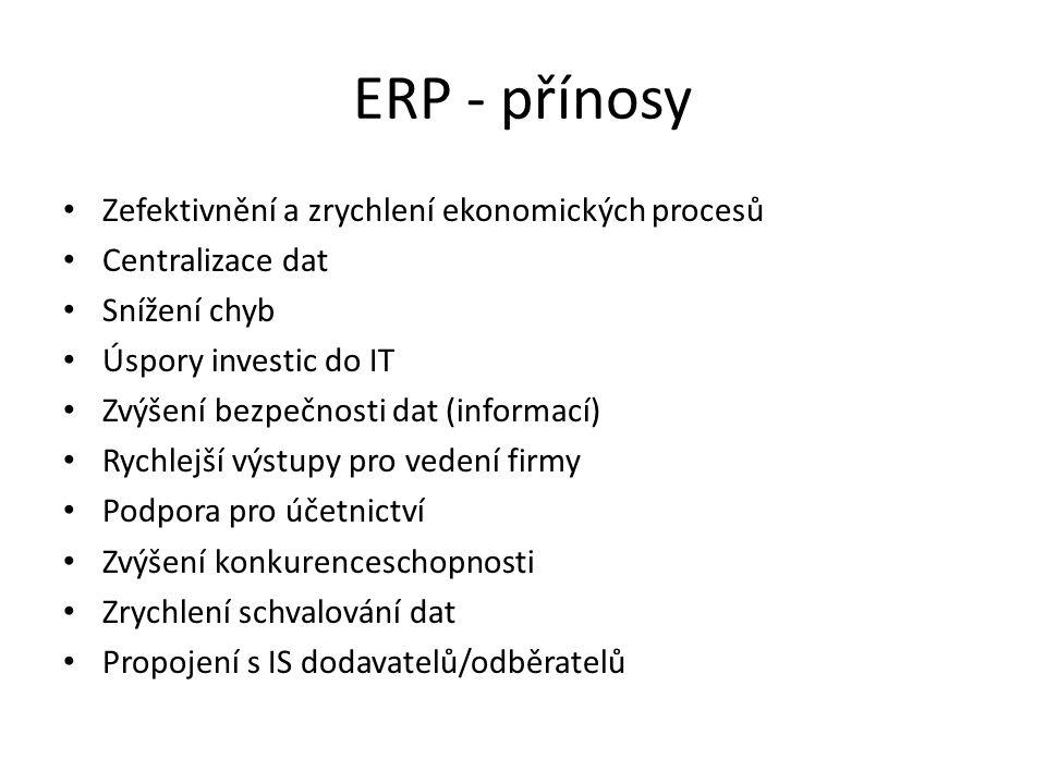 ERP - přínosy Zefektivnění a zrychlení ekonomických procesů Centralizace dat Snížení chyb Úspory investic do IT Zvýšení bezpečnosti dat (informací) Rychlejší výstupy pro vedení firmy Podpora pro účetnictví Zvýšení konkurenceschopnosti Zrychlení schvalování dat Propojení s IS dodavatelů/odběratelů
