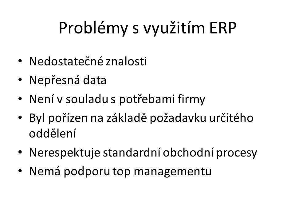 Problémy s využitím ERP Nedostatečné znalosti Nepřesná data Není v souladu s potřebami firmy Byl pořízen na základě požadavku určitého oddělení Nerespektuje standardní obchodní procesy Nemá podporu top managementu