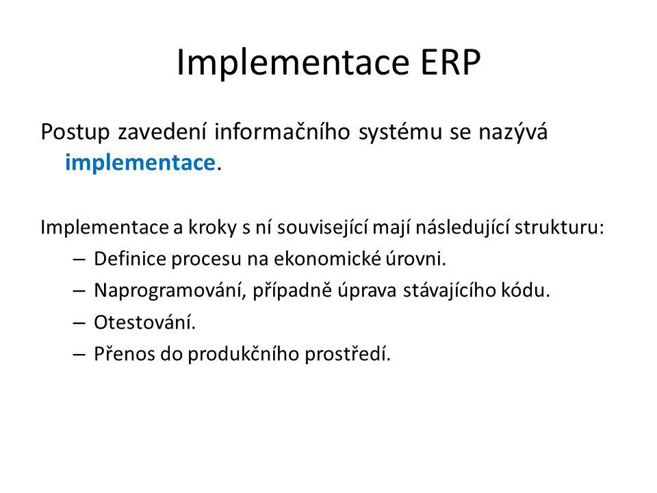 Implementace ERP Postup zavedení informačního systému se nazývá implementace. Implementace a kroky s ní související mají následující strukturu: – Defi