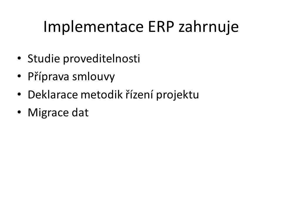 Implementace ERP zahrnuje Studie proveditelnosti Příprava smlouvy Deklarace metodik řízení projektu Migrace dat