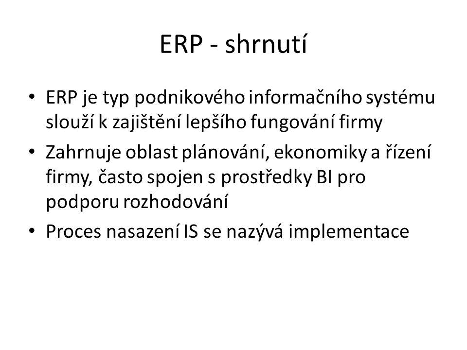 ERP - shrnutí ERP je typ podnikového informačního systému slouží k zajištění lepšího fungování firmy Zahrnuje oblast plánování, ekonomiky a řízení firmy, často spojen s prostředky BI pro podporu rozhodování Proces nasazení IS se nazývá implementace