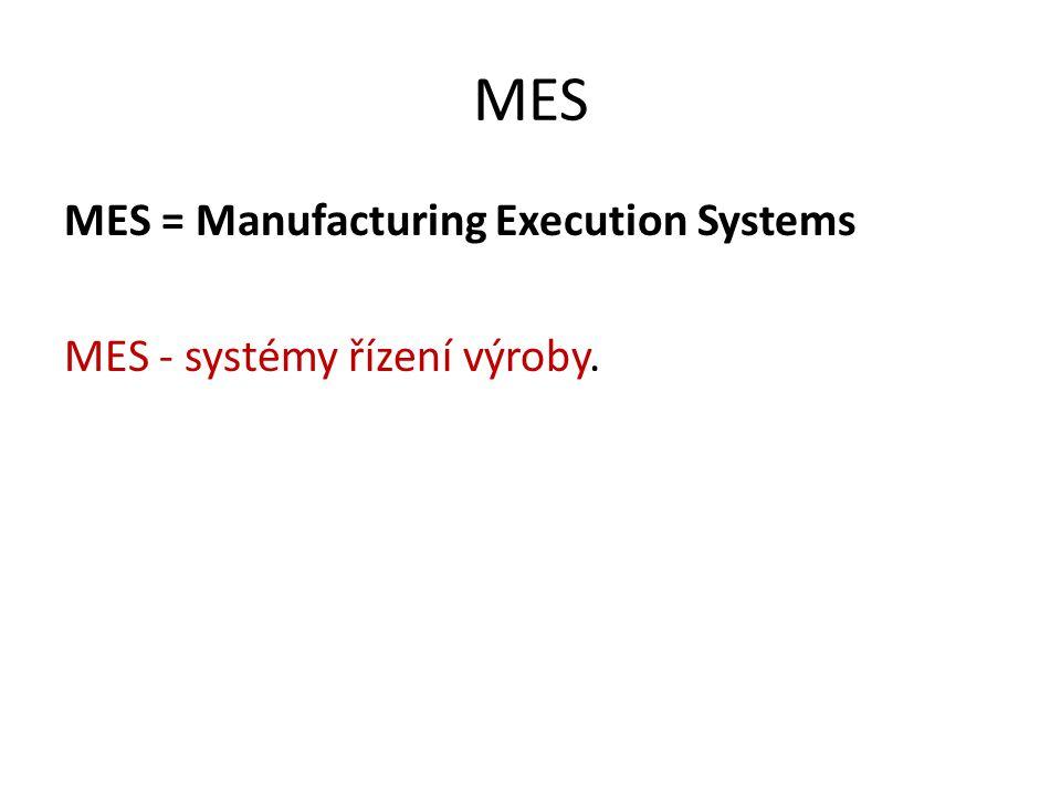 MES MES = Manufacturing Execution Systems MES - systémy řízení výroby.