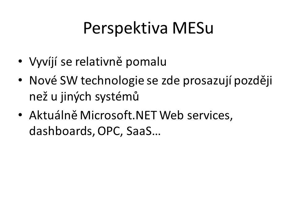 Perspektiva MESu Vyvíjí se relativně pomalu Nové SW technologie se zde prosazují později než u jiných systémů Aktuálně Microsoft.NET Web services, dashboards, OPC, SaaS…