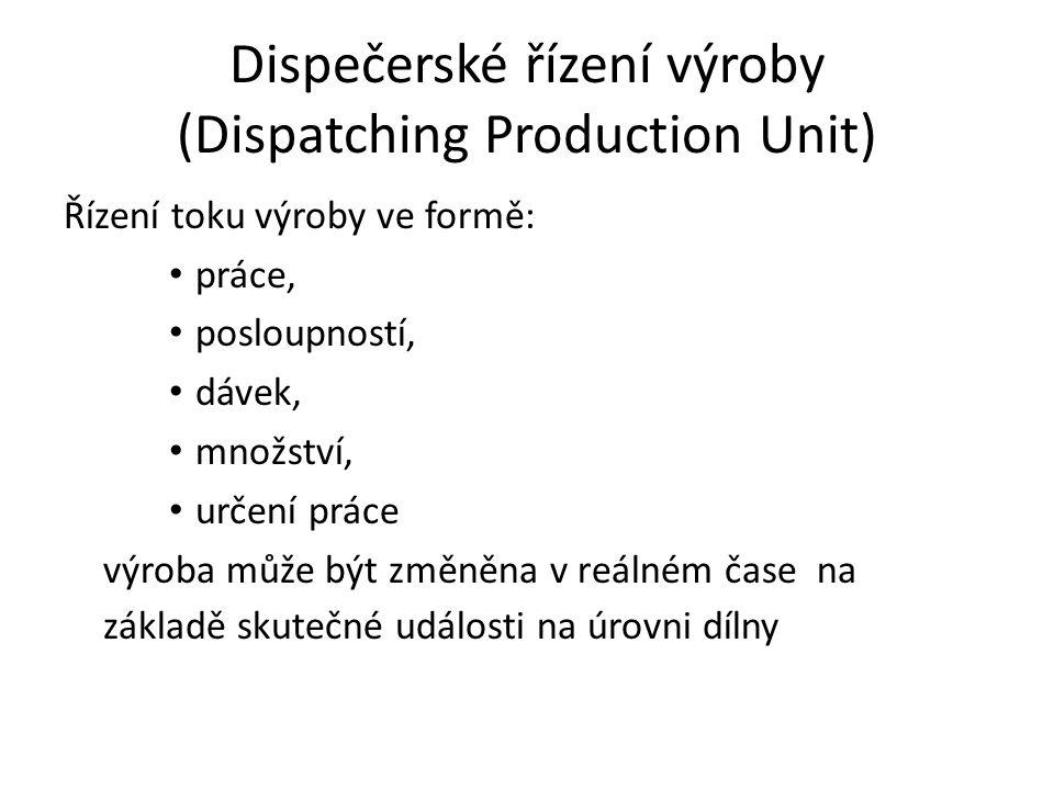 Dispečerské řízení výroby (Dispatching Production Unit) Řízení toku výroby ve formě: práce, posloupností, dávek, množství, určení práce výroba může bý