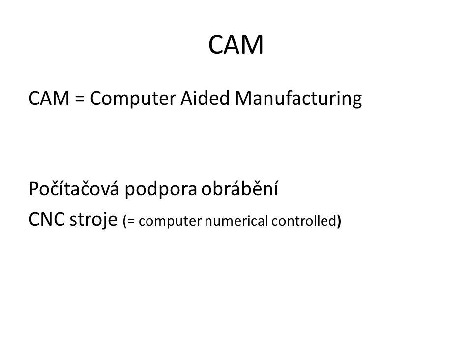 CAM CAM = Computer Aided Manufacturing Počítačová podpora obrábění CNC stroje (= computer numerical controlled)