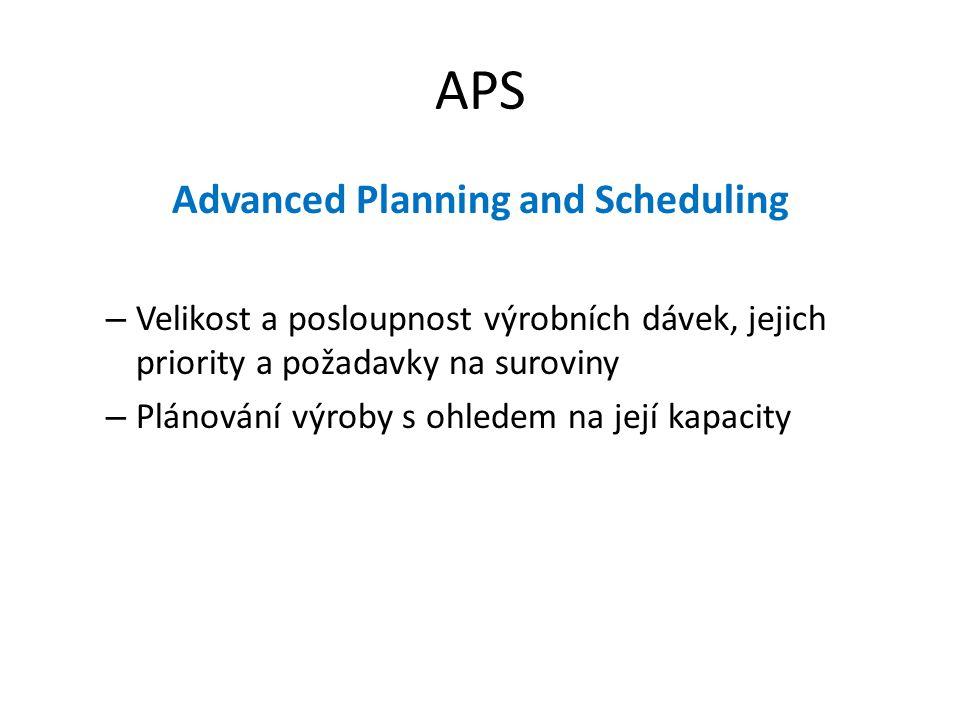 APS Advanced Planning and Scheduling – Velikost a posloupnost výrobních dávek, jejich priority a požadavky na suroviny – Plánování výroby s ohledem na