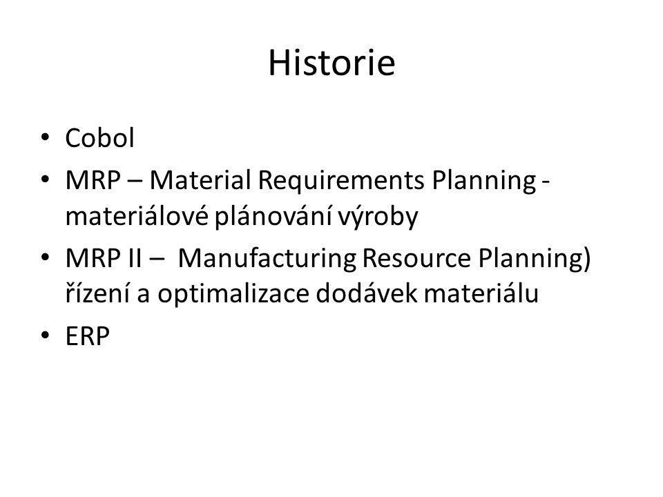 Historie Cobol MRP – Material Requirements Planning - materiálové plánování výroby MRP II – Manufacturing Resource Planning) řízení a optimalizace dodávek materiálu ERP