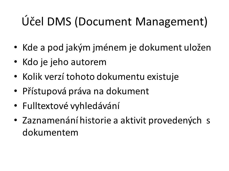 Účel DMS (Document Management) Kde a pod jakým jménem je dokument uložen Kdo je jeho autorem Kolik verzí tohoto dokumentu existuje Přístupová práva na dokument Fulltextové vyhledávání Zaznamenání historie a aktivit provedených s dokumentem