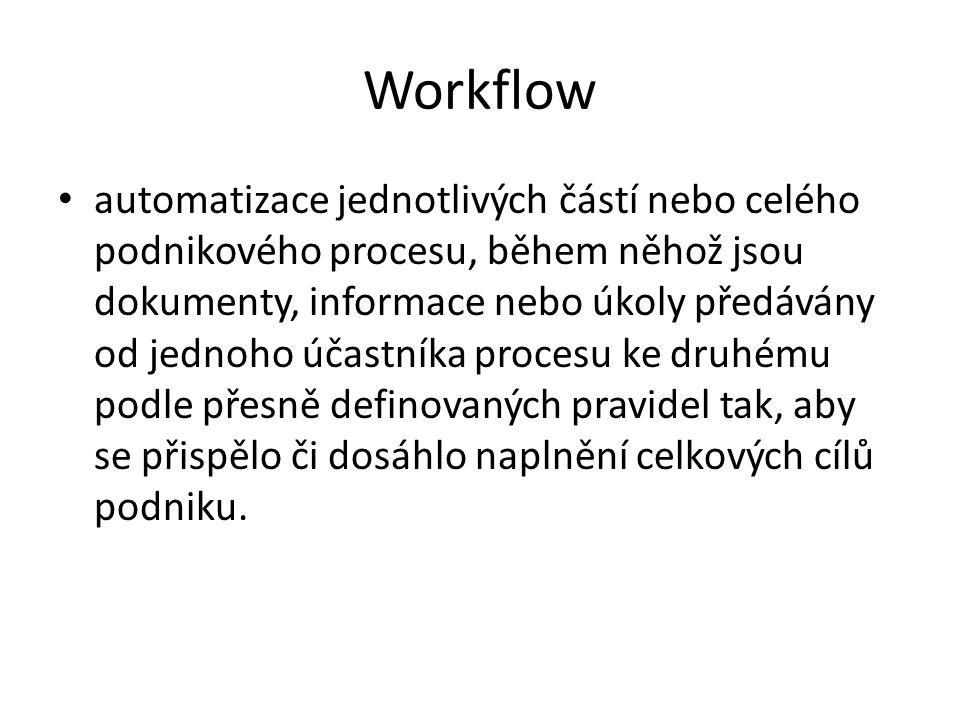 Workflow automatizace jednotlivých částí nebo celého podnikového procesu, během něhož jsou dokumenty, informace nebo úkoly předávány od jednoho účastníka procesu ke druhému podle přesně definovaných pravidel tak, aby se přispělo či dosáhlo naplnění celkových cílů podniku.
