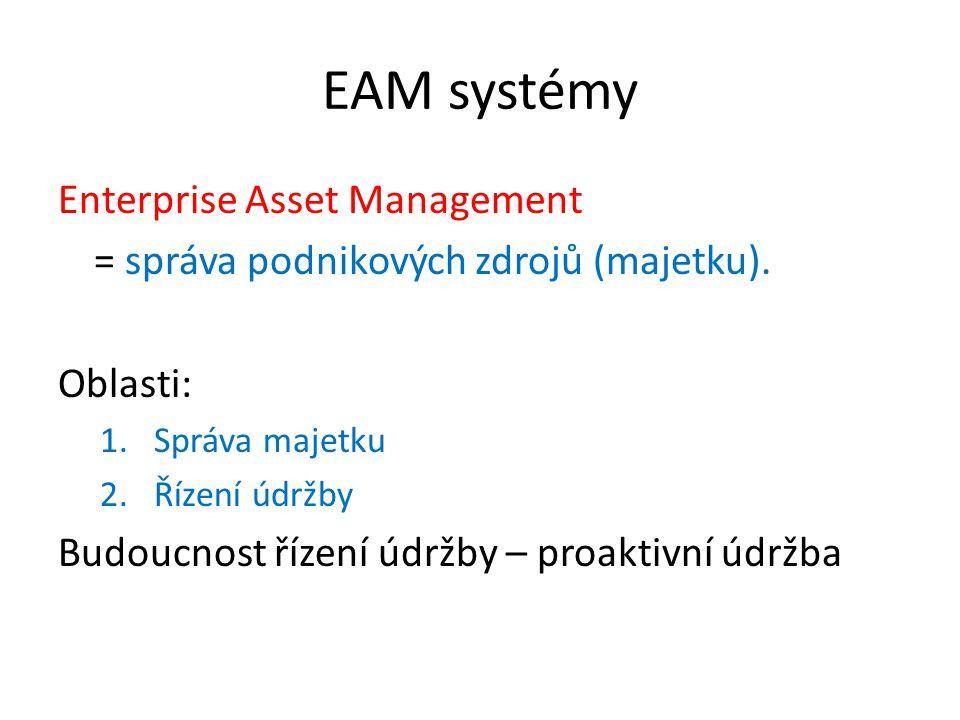 EAM systémy Enterprise Asset Management = správa podnikových zdrojů (majetku). Oblasti: 1.Správa majetku 2.Řízení údržby Budoucnost řízení údržby – pr