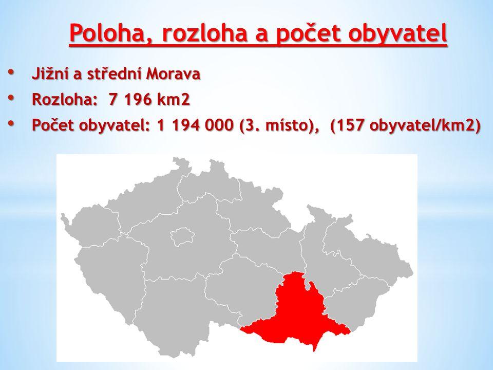 Poloha, rozloha a počet obyvatel Jižní a střední Morava Jižní a střední Morava Rozloha: 7 196 km2 Rozloha: 7 196 km2 Počet obyvatel: 1 194 000 (3. mís