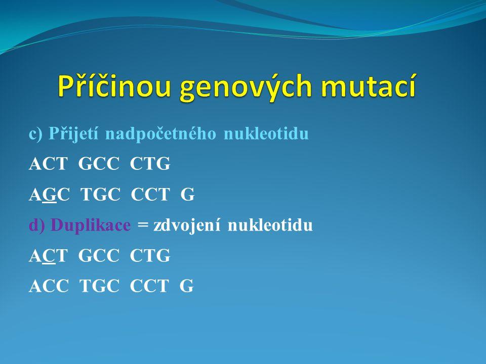 c) Přijetí nadpočetného nukleotidu ACT GCC CTG AGC TGC CCT G d) Duplikace = zdvojení nukleotidu ACT GCC CTG ACC TGC CCT G