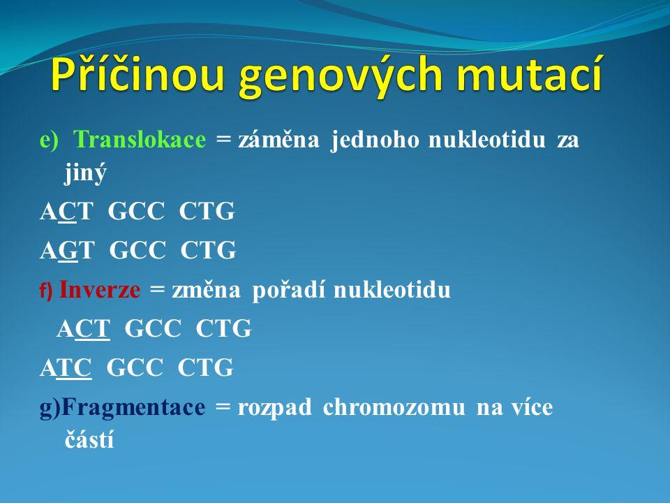 e) Translokace = záměna jednoho nukleotidu za jiný ACT GCC CTG AGT GCC CTG f) Inverze = změna pořadí nukleotidu ACT GCC CTG ATC GCC CTG g)Fragmentace