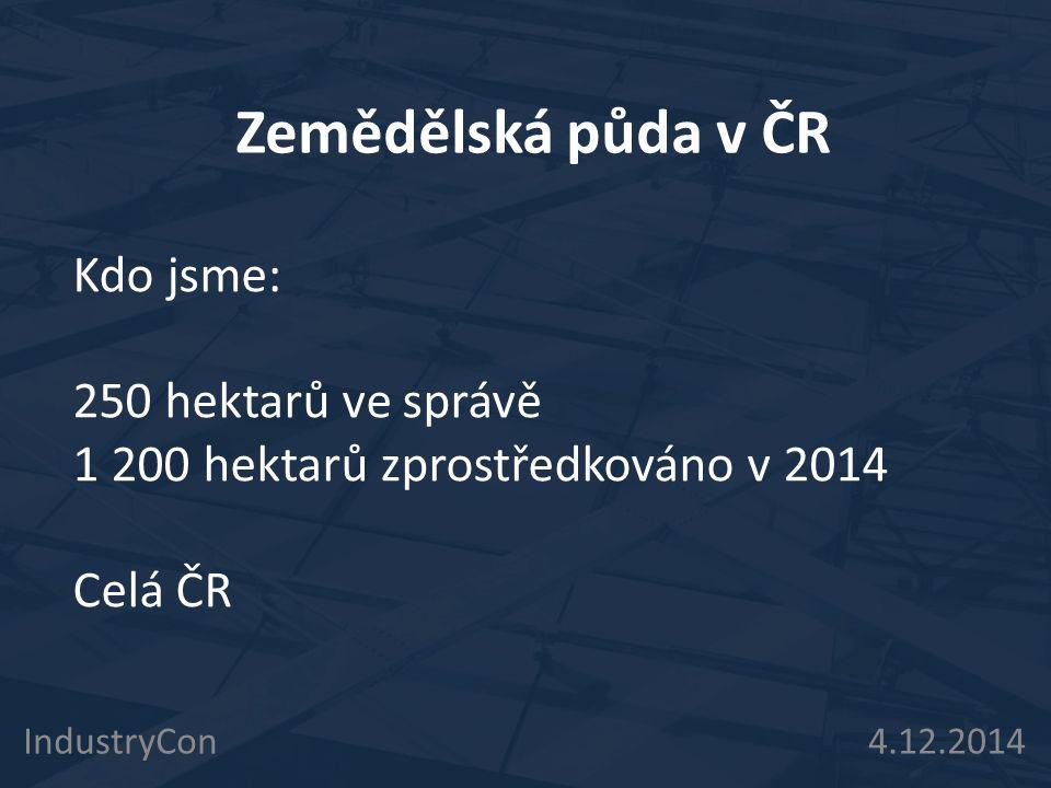 Zemědělská půda v ČR IndustryCon 4.12.2014 Kdo jsme: 250 hektarů ve správě 1 200 hektarů zprostředkováno v 2014 Celá ČR
