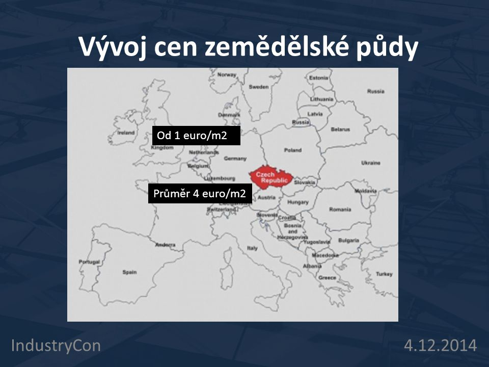 Stav trhu s půdou v ČR IndustryCon 4.12.2014 Trh je velmi decentralizovaný Obchoduje obvykle s malými kousky půdy Zemědělci přeplácí investory, spekulanty a jiné zemědělce Minimum dlouhodobých investorů Mnoho spekulantů