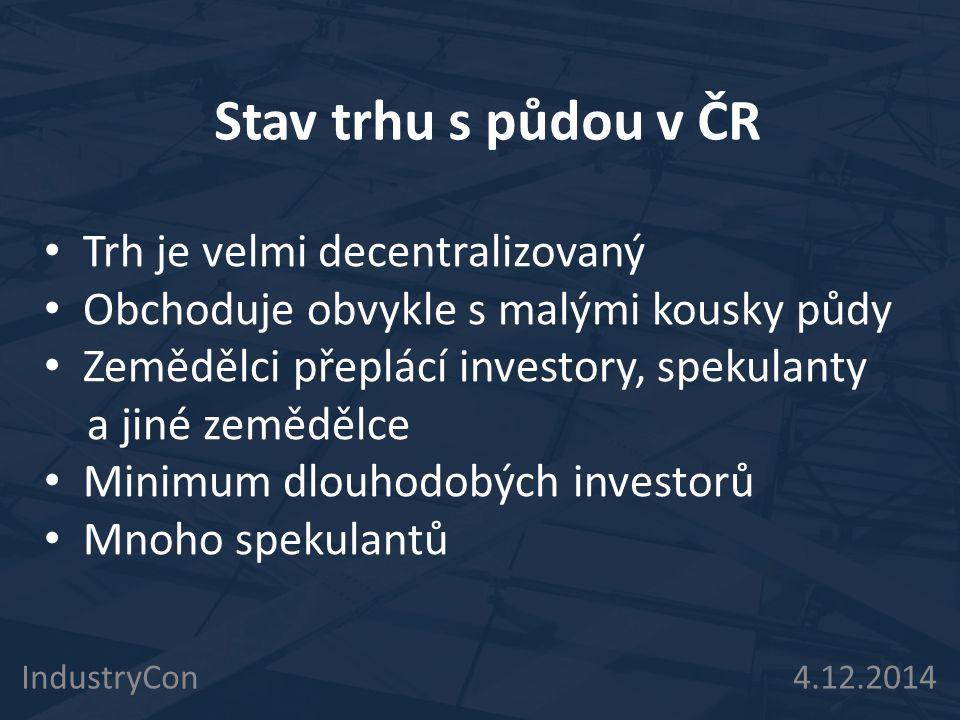 Stav trhu s půdou v ČR IndustryCon 4.12.2014 Trh je velmi decentralizovaný Obchoduje obvykle s malými kousky půdy Zemědělci přeplácí investory, spekul