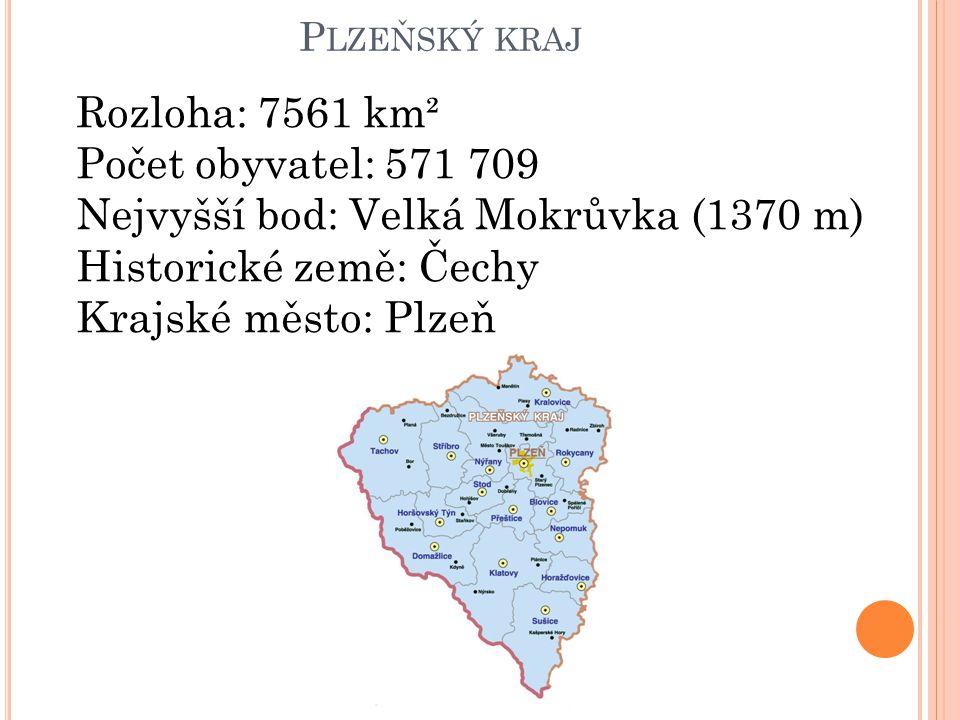 P LZEŇSKÝ KRAJ Rozloha: 7561 km² Počet obyvatel: 571 709 Nejvyšší bod: Velká Mokrůvka (1370 m) Historické země: Čechy Krajské město: Plzeň