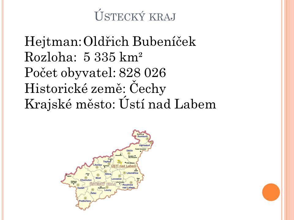 Ú STECKÝ KRAJ Hejtman:Oldřich Bubeníček Rozloha:5 335 km² Počet obyvatel: 828 026 Historické země: Čechy Krajské město: Ústí nad Labem