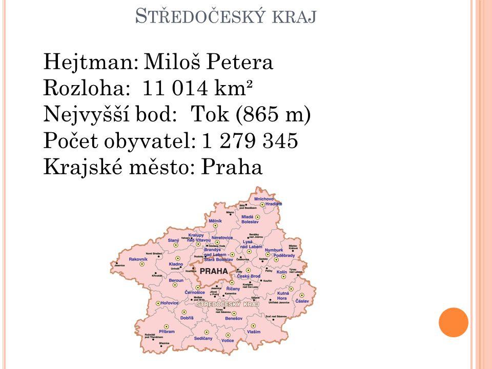 S TŘEDOČESKÝ KRAJ Hejtman: Miloš Petera Rozloha:11 014 km² Nejvyšší bod:Tok (865 m) Počet obyvatel: 1 279 345 Krajské město: Praha