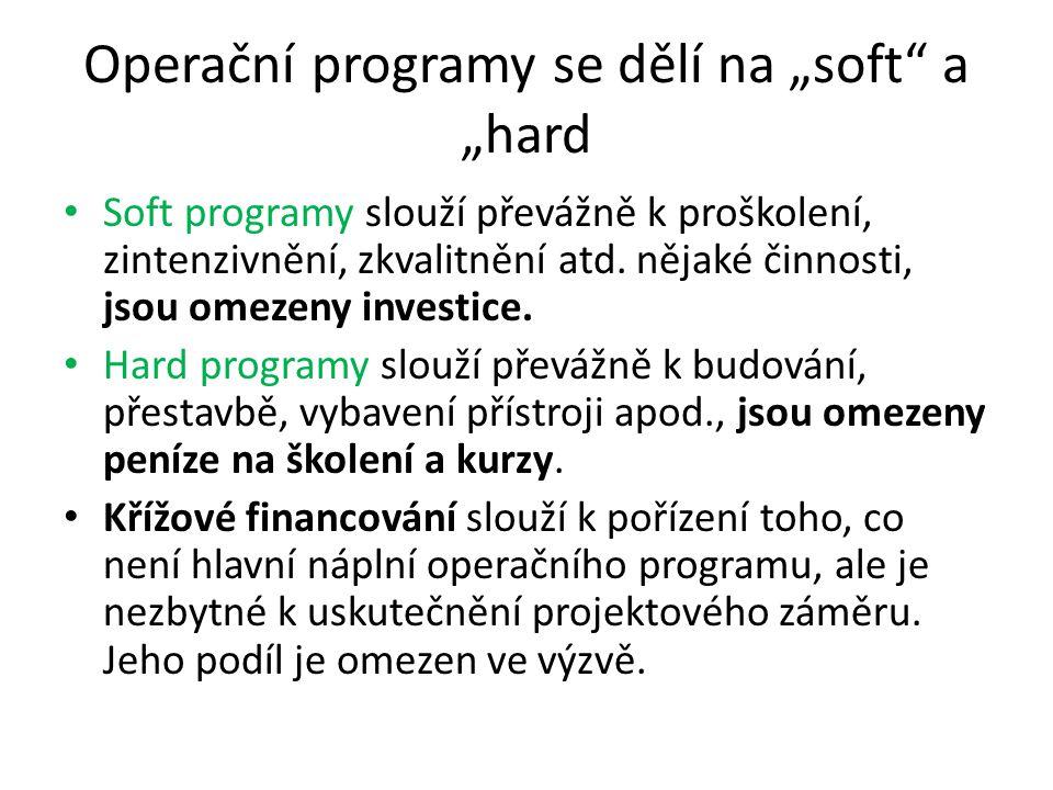 """Operační programy se dělí na """"soft a """"hard Soft programy slouží převážně k proškolení, zintenzivnění, zkvalitnění atd."""