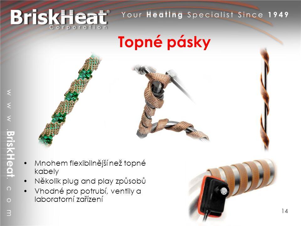Topné pásky Mnohem flexibilnější než topné kabely Několik plug and play způsobů Vhodné pro potrubí, ventily a laboratorní zařízení 14