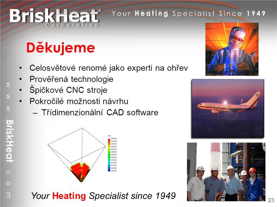 Your Heating Specialist since 1949 Děkujeme Celosvětové renomé jako experti na ohřev Prověřená technologie Špičkové CNC stroje Pokročilé možnosti návr