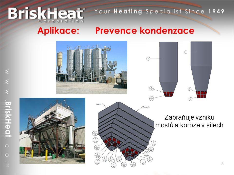 Aplikace: Prevence kondenzace 4 Zabraňuje vzniku mostů a koroze v silech