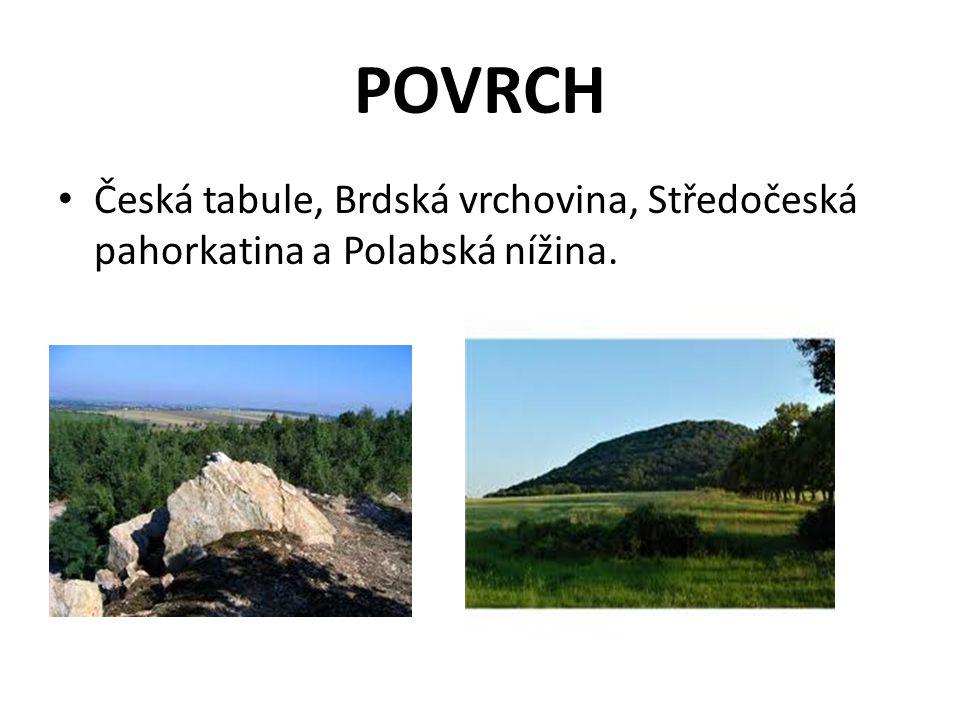 POVRCH Česká tabule, Brdská vrchovina, Středočeská pahorkatina a Polabská nížina.