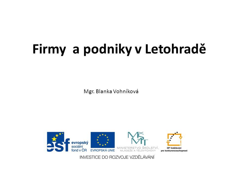 Firmy a podniky v Letohradě Mgr. Blanka Vohníková