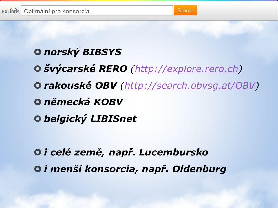 Optimální pro konsorcia  norský BIBSYS  švýcarské RERO (http://explore.rero.ch)http://explore.rero.ch  rakouské OBV (http://search.obvsg.at/OBV)http://search.obvsg.at/OBV  německá KOBV  belgický LIBISnet  i celé země, např.