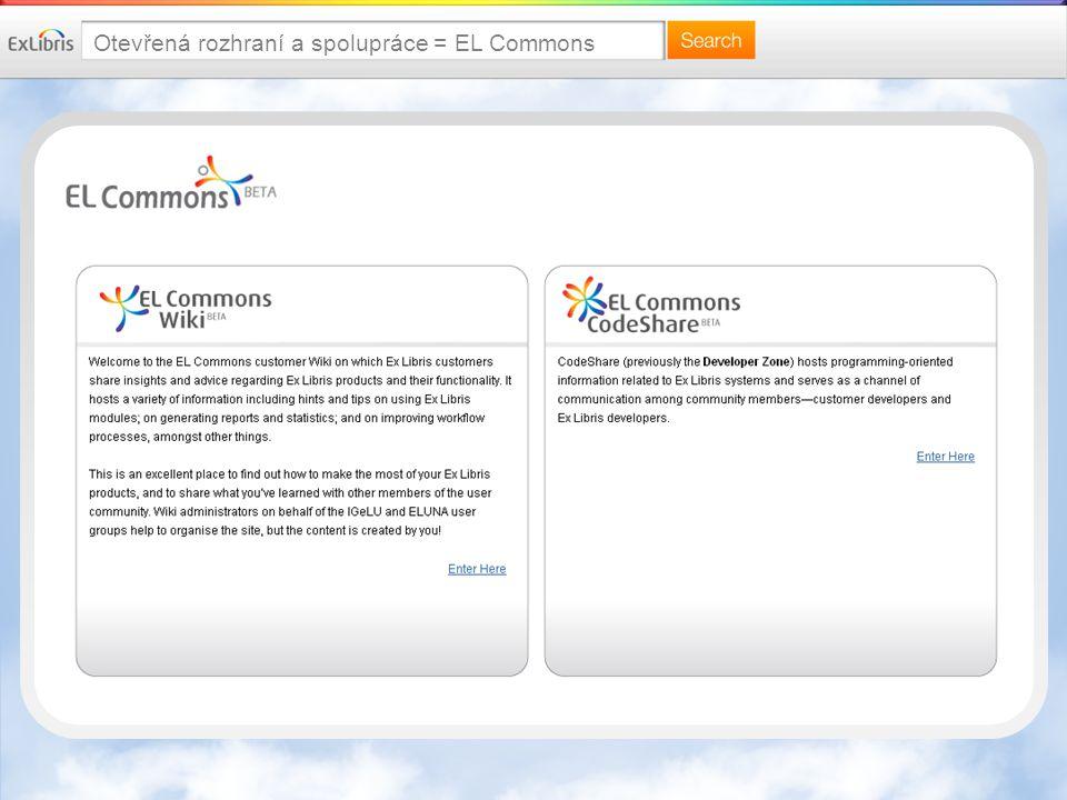 Otevřená rozhraní a spolupráce = EL Commons