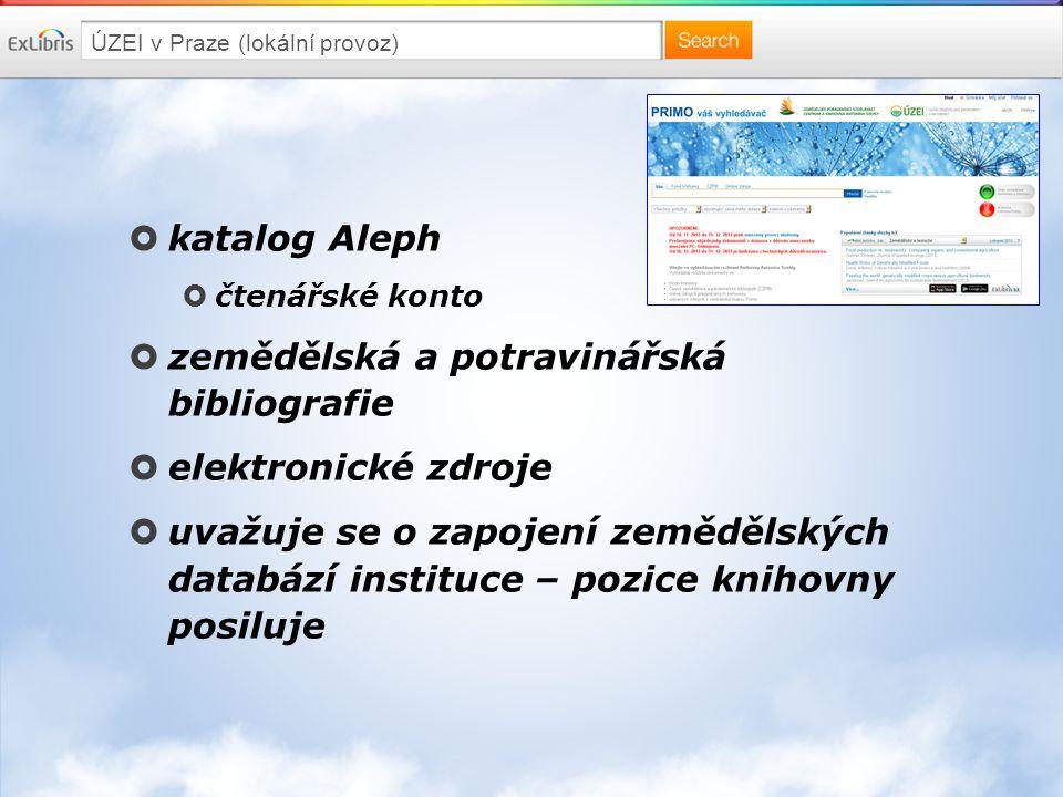 ÚZEI v Praze (lokální provoz)  katalog Aleph  čtenářské konto  zemědělská a potravinářská bibliografie  elektronické zdroje  uvažuje se o zapojení zemědělských databází instituce – pozice knihovny posiluje
