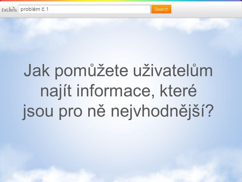 Jak pomůžete uživatelům najít informace, které jsou pro ně nejvhodnější problém č.1