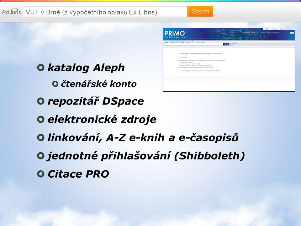 VUT v Brně (z výpočetního oblaku Ex Libris)  katalog Aleph  čtenářské konto  repozitář DSpace  elektronické zdroje  linkování, A-Z e-knih a e-časopisů  jednotné přihlašování (Shibboleth)  Citace PRO