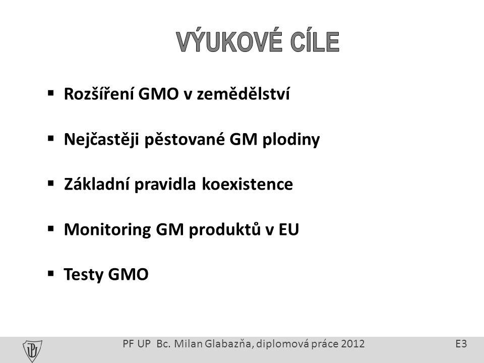 Celková světová plocha k pěstování GMO je přes 160 milionů ha Největší producenti: USA, Argentina, Brazílie, Kanada, Indie a Čína V Evropě je zastoupení GM rostlin značně omezeno Nejvýznamnějším pěstitelem je Španělsko (70 000 ha GM kukuřice) Malé rozšíření je dáno hlavně odporem spotřebitelů a blokováním dovozu nových GM plodin PřF UP Bc.