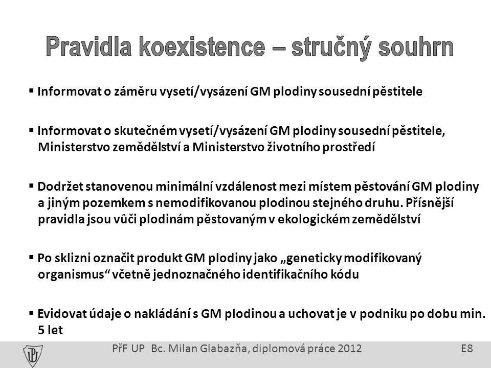 GMO podléhají před uvolněním do oběhu schválení příslušnými orgány EU: Evropský úřad pro bezpečnost potravin (EFSA) Spojené výzkumné středisko (JRC) Důvody monitoringu: Identifikace přímých, nepřímých a opožděných efektů zavedení GMO Zlepšení praktik při nakládání s GMO Včasné stažení GMO z trhu PřF UP Bc.