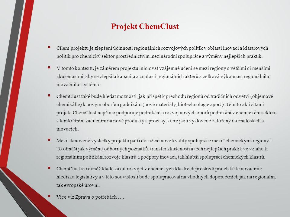 Projekt ChemClust  Cílem projektu je zlepšení účinnosti regionálních rozvojových politik v oblasti inovací a klastrových politik pro chemický sektor prostřednictvím mezinárodní spolupráce a výměny nejlepších praktik.