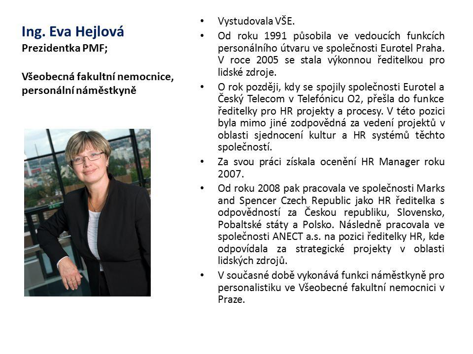 Ing. Eva Hejlová Prezidentka PMF; Všeobecná fakultní nemocnice, personální náměstkyně Vystudovala VŠE. Od roku 1991 působila ve vedoucích funkcích per