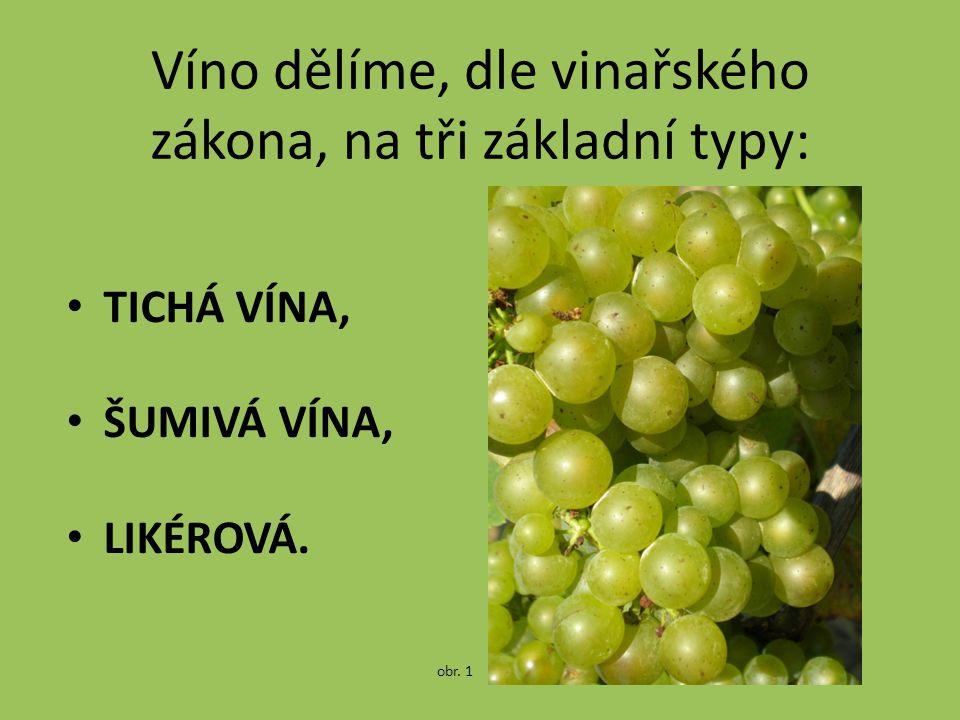 Víno dělíme, dle vinařského zákona, na tři základní typy: TICHÁ VÍNA, ŠUMIVÁ VÍNA, LIKÉROVÁ. obr. 1