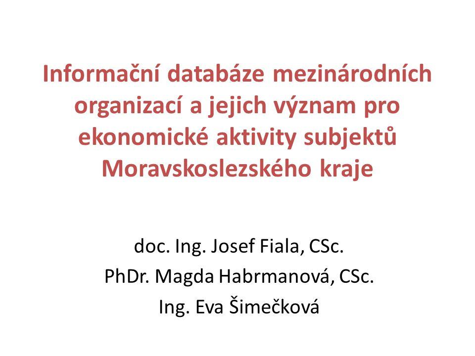 Informační databáze mezinárodních organizací a jejich význam pro ekonomické aktivity subjektů Moravskoslezského kraje doc.